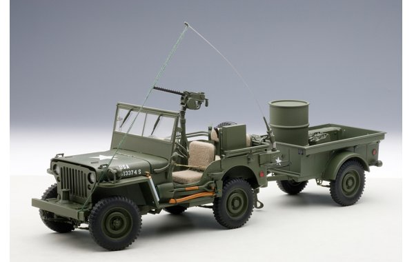 Bild 1 - Jeep Willis Army Version mit Anhänger
